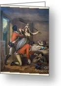 Colonial Man Painting Greeting Cards - The Red Coats have Come Greeting Card by Pierpont Bay Archives
