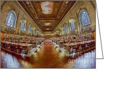Rose Main Reading Room Greeting Cards - The Rose Main Reading Room NYPL Greeting Card by Susan Candelario