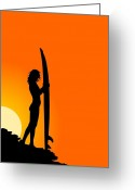 Surf Silhouette Digital Art Greeting Cards - The Surfer Greeting Card by Mountain Dreams