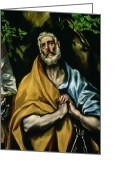 Tearful Greeting Cards - The Tears of St Peter Greeting Card by El Greco Domenico Theotocopuli
