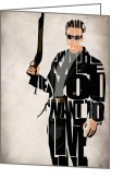 Wall Art Greeting Cards - The Terminator - Arnold Schwarzenegger Greeting Card by Ayse Toyran