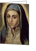 Virgin Maria Greeting Cards - The Virgin Mary Greeting Card by El Greco Domenico Theotocopuli