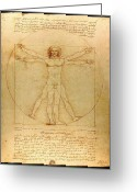Historical Document Greeting Cards - The Vitruvian Man Greeting Card by Mountain Dreams