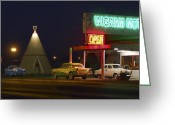Night Scene Greeting Cards - The Wigwam Motel On Route 66 Greeting Card by Mike McGlothlen