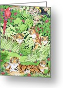Green Field Painting Greeting Cards - Tiger Jungle Greeting Card by Suzanne Bailey