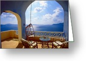 Veranda Greeting Cards - Time of Siesta Greeting Card by Aiolos Greece Collection