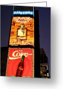 Billboards Greeting Cards - Time Square Vertical Pano Greeting Card by Joann Vitali