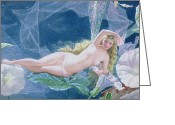 Featured Greeting Cards - Titania Lying on a Leaf  Greeting Card by John Simmons