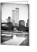 Twin Towers World Trade Center Greeting Cards - To the Towers 1990s Greeting Card by John Rizzuto