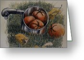 Water Drawings Greeting Cards - Tomatoes    1992 Greeting Card by Larry Preston