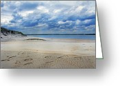 White Colors Greeting Cards - Topsail Dunes Greeting Card by East Coast Barrier Islands Betsy A Cutler