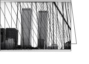 Twin Towers World Trade Center Greeting Cards - Towers from the Brooklyn Bridge 1990s Greeting Card by John Rizzuto
