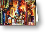 Great Painting Greeting Cards - Town In england Greeting Card by Leonid Afremov