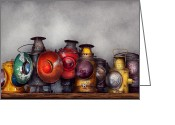 Picker Greeting Cards - Train - A collection of Rail Road lanterns  Greeting Card by Mike Savad
