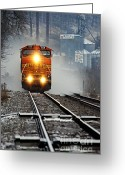 Larry Ricker Greeting Cards - Train at Alma WI Greeting Card by Larry Ricker