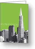 Golden Digital Art Greeting Cards - Transamerica Pyramid Building Greeting Card by Dean Caminiti