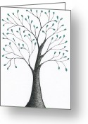 Featured Drawings Greeting Cards - tree 60 - Elementary With Green Leaves Greeting Card by Chris Bishop