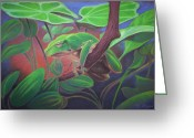 Amphibians Pastels Greeting Cards - Tree Frog Greeting Card by Daniel Wend