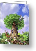 Mushrooms Greeting Cards - Tree of Life Greeting Card by Jerry LoFaro