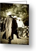 Leather Greeting Cards - Trenchcoat Cowboy Greeting Card by Trish Mistric
