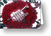 Wreaths Greeting Cards - Trumpet on red berry wreath Greeting Card by Garry Gay