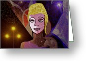 420 Greeting Cards - Tthoughtful lady  with cross - 420 Greeting Card by Irmgard Schoendorf Welch