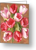 Tulip Art Botanical Art Painting Greeting Cards - Tulip Bouquet Greeting Card by Ken Powers
