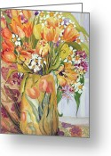Tulip Art Botanical Art Painting Greeting Cards - Tulips and Narcissi in an Art Nouveau Vase Greeting Card by Joan Thewsey
