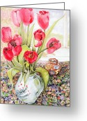 Jugs Greeting Cards - Tulips in a Rye Jug Greeting Card by Joan Thewsey