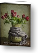 Compose Greeting Cards - Tulips in a Wrapped Vase Greeting Card by Terry Rowe