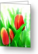 Watercolor Flowers Prints Greeting Cards - Tulips Greeting Card by Moon Stumpp