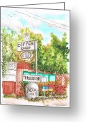 Turquois Greeting Cards - Turquois-Coffee-Shopp-in-Three-Rivers-CA Greeting Card by Carlos G Groppa