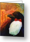 One Animal Painting Greeting Cards - Tuxedo Crow Greeting Card by Kerrie  Hubbard