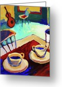 Red And Tea Greeting Cards - Twilight Coffee Cafe Greeting Card by Luff  Gallery