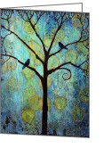 Birds Painting Greeting Cards - Twilight Tree of Life Greeting Card by Blenda Tyvoll