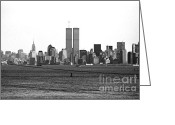 Poster From Greeting Cards - Twin Towers from Staten Island Greeting Card by John Rizzuto