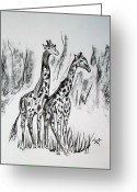 Lime Drawings Greeting Cards - Two Giraffes Greeting Card by Janice Rae Pariza