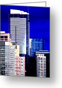 Seattle Skyline Greeting Cards - Two Union Square Greeting Card by Benjamin Yeager