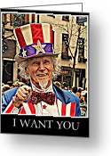 I Want You Greeting Cards - Uncle Sam Greeting Card by Pat Marzinsky