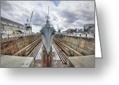 Charlestown Greeting Cards - USS Cassin Young Greeting Card by Eric Gendron