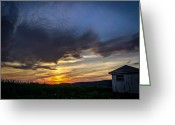 Shed Digital Art Greeting Cards - Valley Sunset Greeting Card by Jahred Klahre