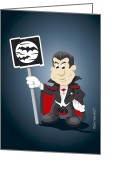 Count Dracula Greeting Cards - Vampire Cartoon Man Bat Moon Sign Greeting Card by Frank Ramspott