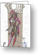 Elena Yakubovich Painting Greeting Cards - Venetian jester Greeting Card by Elena Yakubovich