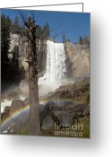 California Adventure Greeting Cards - Vernal Falls with rainbow Greeting Card by Jane Rix