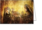 Way Of The Cross Greeting Cards - Veronica Wipes His Face Via Dolorosa 6 Greeting Card by Lianne Schneider