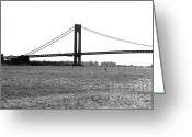 1990s Greeting Cards - Verrazano Narrows Bridge 35mm Greeting Card by John Rizzuto