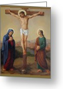 Jesus Art Painting Greeting Cards - Via Dolorosa 12 Greeting Card by Svitozar Nenyuk