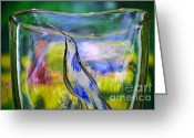 Love Birds Glass Art Greeting Cards - Vinsanchi Glass Art-1 Greeting Card by Vin Kitayama