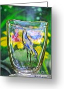 Love Birds Glass Art Greeting Cards - Vinsanchi Glass Art-2 Greeting Card by Vin Kitayama