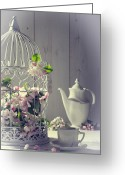 Filled Greeting Cards - Vintage Afternoon Tea Greeting Card by Christopher Elwell and Amanda Haselock
